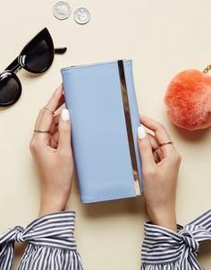 Лакированный кошелек с металлической планкой ASOS - Синий