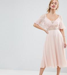 Платье миди с кружевной отделкой ASOS PETITE Kate - Розовый