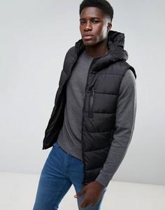 Дутая куртка с капюшоном Threadbare - Черный