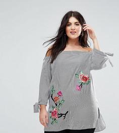 Блузка в полоску с 3D цветами Lovedrobe - Мульти