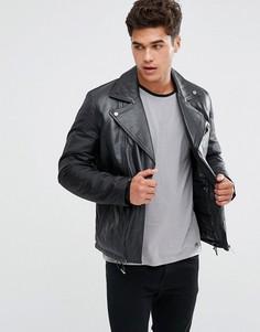 Кожаная байкерская куртка Kiomi - Черный
