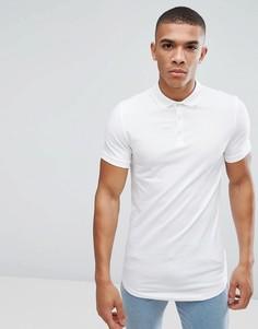 Длинная облегающая футболка-поло с закругленным краем ASOS - Белый