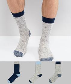 3 пары носков в подарочной упаковке (темно-синий/серый в крапинку) ASOS - Мульти