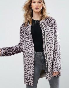 Пальто без воротника с леопардовым принтом Pepe Jeans - Коричневый