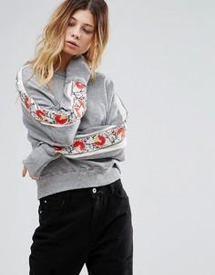 Свитшот с цветочной вышивкой Free People - Серый