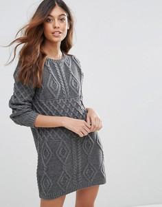 Платье-джемпер крупной вязки QED London - Серый