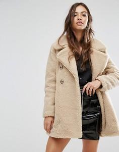 Пальто из искусственной овечьей шерсти QED London - Коричневый