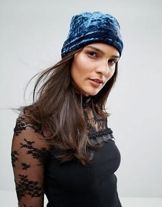 Шапка-бини из мятого бархата Anna Sui - Темно-синий