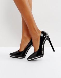 Черные кожаные туфли-лодочки с заклепками Jeffrey Campbell - Черный