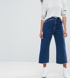 Синие джинсы с широкими штанинами и необработанным поясом ASOS PETITE - Синий