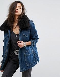 Длинная джинсовая куртка с воротником из искусственного меха One Teaspoon - Синий