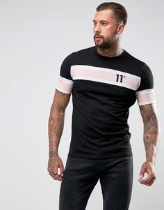 Черная футболка с полосками 11 Degrees - Черный