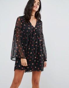 Свободное платье с расклешенными рукавами Influence - Черный