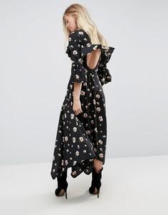 Асимметричное чайное платье с открытой спиной Influence - Черный