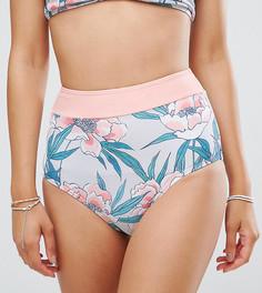 Плавки бикини с завышенной талией и тропическим принтом South Beach - Мульти