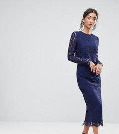 Кружевное платье-футляр с длинными рукавами ASOS TALL WEDDING - Темно-синий