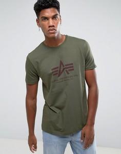Темно-зеленая футболка классического кроя с логотипом Alpha Industries - Зеленый
