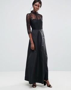 Платье макси с высоким воротом и кружевной вставкой Y.A.S - Черный