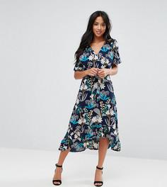 Платье миди с запахом и цветочным принтом Yumi Petite - Черный