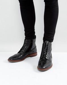 Черные кожаные ботинки-броги на шнуровке с контрастной подошвой ASOS - Черный