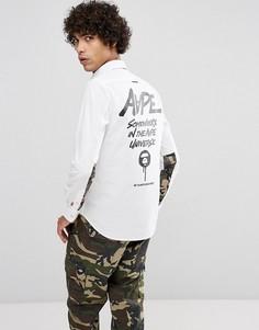 Узкая рубашка с контрастным камуфляжным принтом AAPE By A Bathing Ape - Белый