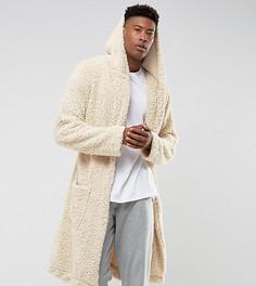 Пушистый халат с капюшоном ASOS TALL - Бежевый