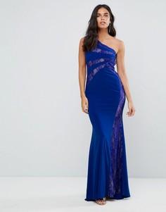 Платье макси на одно плечо с кружевными вставками Forever Unique - Синий