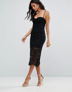 Маленькое черное платье с кружевной отделкой Forever Unique - Черный