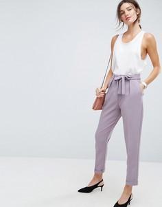 Тканые широкие брюки с поясом-оби ASOS - Фиолетовый