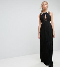 Платье макси с высоким воротом и кружевной вставкой TFNC Tall - Черный
