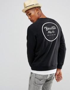 Свитшот с принтом на спине Brixton Wheeler - Черный
