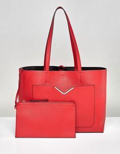 Сумка для покупок с передним карманом и клатчем-вкладышем ASOS - Красный
