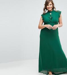 Облегающее шифоновое платье макси с рукавами-оборками TFNC Plus WEDDING - Зеленый