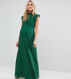 Шифоновое платье макси с рукавами клеш TFNC Maternity WEDDING - Зеленый