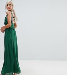 Платье макси с отделкой на спине TFNC Petite WEDDING - Зеленый