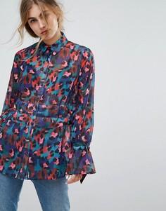 Блузка с завязками и разноцветным леопардовым принтом Lost Ink - Мульти