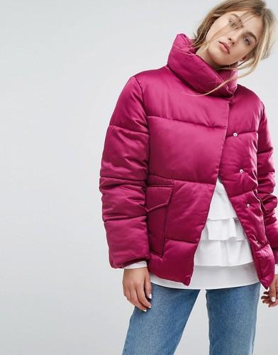 Атласная дутая oversize-куртка Lost Ink - Розовый