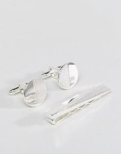 Подарочный набор с зажимом для галстука и запонками ASOS - Серебряный