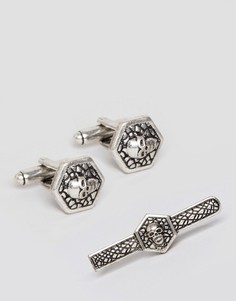 Подарочный набор с зажимом для галстука и запонками с черепами ASOS - Серебряный