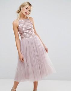 Платье из тюля с пайетками на лифе Little Mistress - Розовый