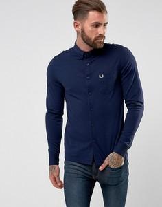 Синяя оксфордская рубашка из пике Fred Perry - Синий