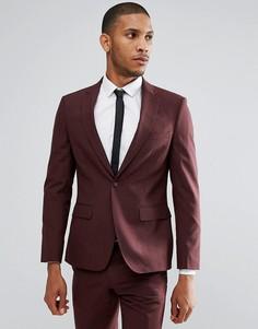 Бордовый приталенный пиджак Moss London - Красный