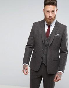 Коричневый приталенный пиджак из твида Moss London - Коричневый