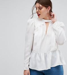 Блузка в викторианском стиле с глубоким вырезом и кружевом ASOS CURVE - Белый