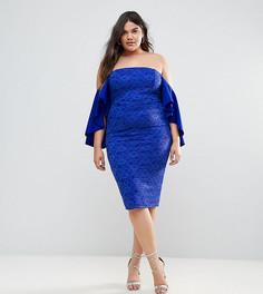 Кружевное платье миди с открытыми плечами ASOS CURVE - Синий