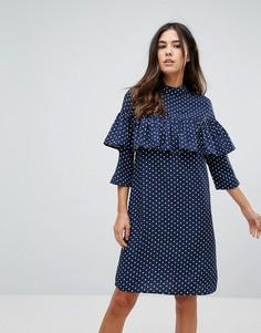 Платье в горошек с оборкой Influence - Темно-синий