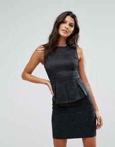Жаккардовое платье с баской Rage - Черный