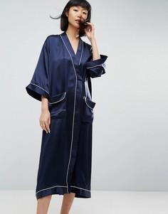 Халат из 100% шелка ASOS WHITE - Темно-синий