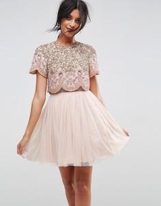 Тюлевое платье мини для выпускного с отделкой ASOS - Бежевый