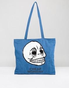 Сумка-тоут с логотипом Cheap Monday - Синий